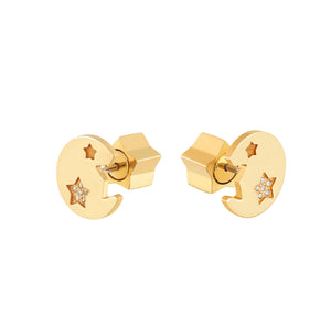 STAR THUMBTACK DIAMOND STUDS - YELLOW GOLD