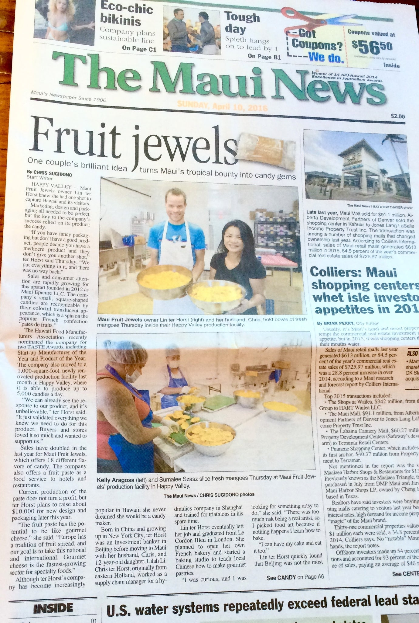 Maui Fruit Jewels in The Maui News April 10, 2016