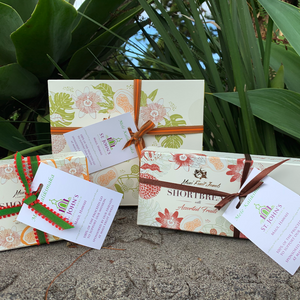 St. John Kula Fundraiser. Shortbread with Hawaii Fruits with ribbon and customized tag