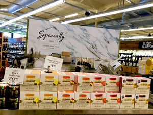 Full selection of Maui Fruit Jewels Fruit Pastes at Whole Foods Market in Kahului, Maui. In picture is Hawaii Fruit Paste Pineapple, Guava, Passion Fruit and Hawaiian Chili Pepper Pineapple. Great for pairing with Whole Foods market cheeses.