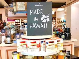 Hawaii Fruit Pastes with sign Made in Hawaii at a Williams Sonoma store in Honolulu. In picture is Guava and Passion Fruit Lilikoi Fruit Pastes