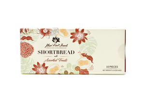 10pc shortbread with Hawaii Fruits. In this picture the box is closed. In this box Guava, Passion Fruit, Mango, Papaya, Pineapple. Great Gift item. Premium and Gourmet