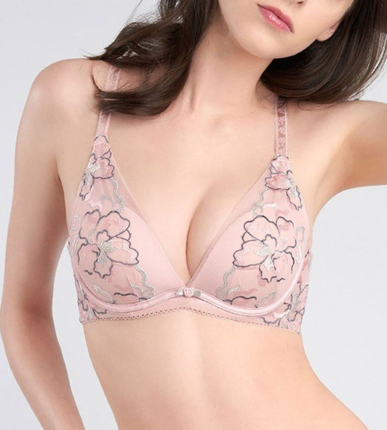 AQUA ROSIE DEEP V WIRED PUSH UP BRA - MAUVE