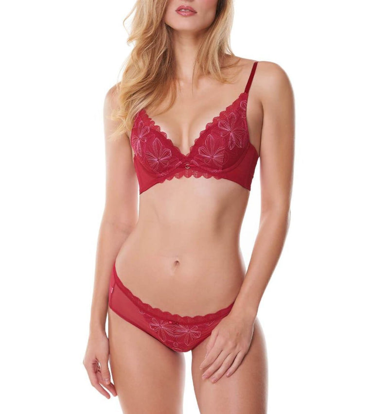 Aqua Chic Deep V Wired Push Up Bra - ROSSO MASAI