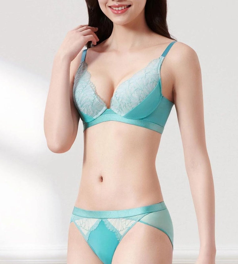 Aqua Lantern Deep V Wired Push Up Bra - TURQUOISE BLUE