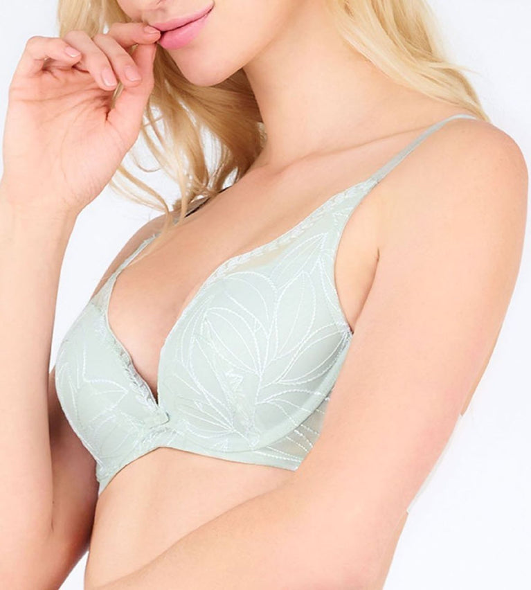 Aqua Leaf Deep V Wired Push Bra - FOREST FROST