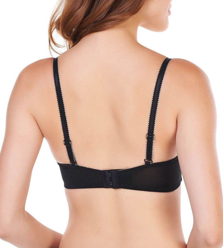 Aqua Lily Non Wired Push Up Bra - BLACK