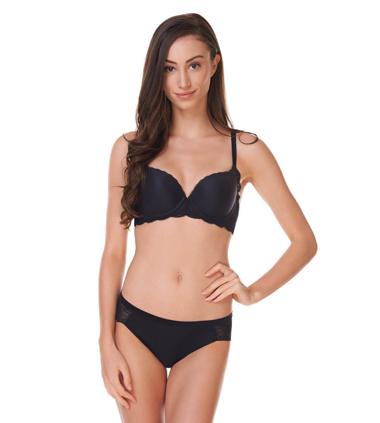 Comfort Touch Wired Padded Bra - BLACK