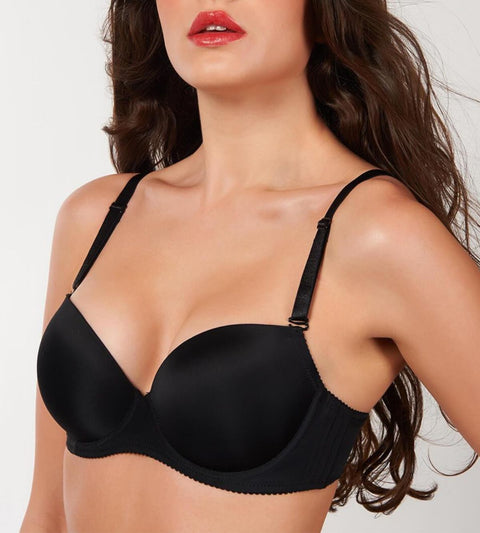 Everyday Wired Push Up Bra With Detachable Straps - BLACK