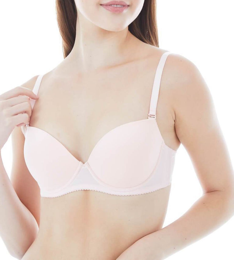 Everyday Wired Push Up Bra With Detachable Straps - PEACH CHEEK