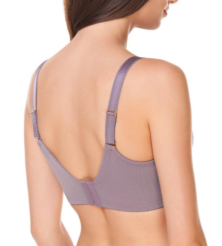 Lacy Support Wired Full Coverage Bra - PIGEON GREY