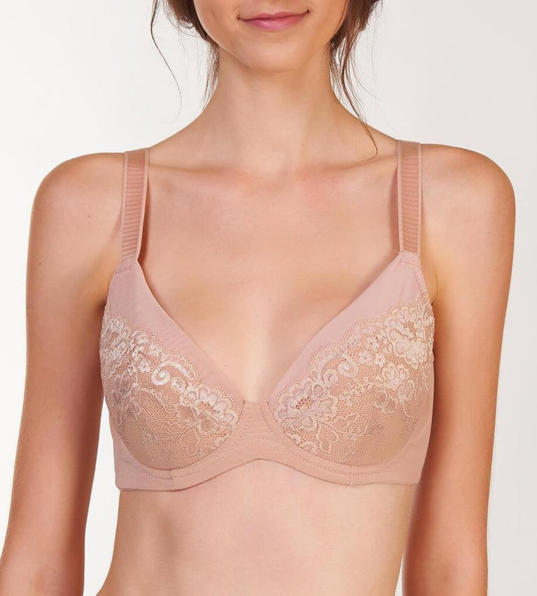 Lacy Support Wired Full Coverage Bra - NEUTRAL BEIGE