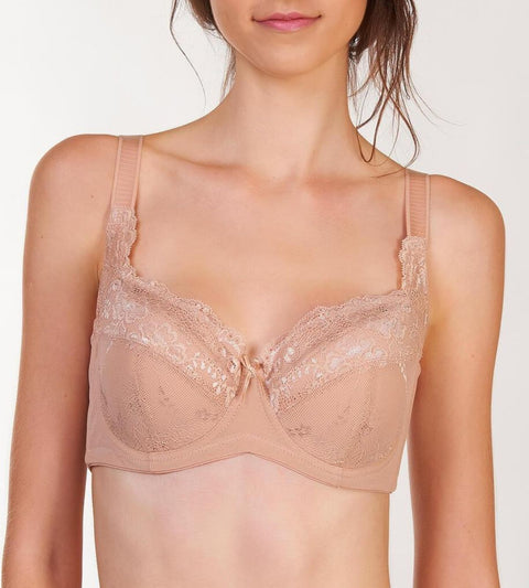 Lacy Support Wired Padded Bra - NEUTRAL BEIGE