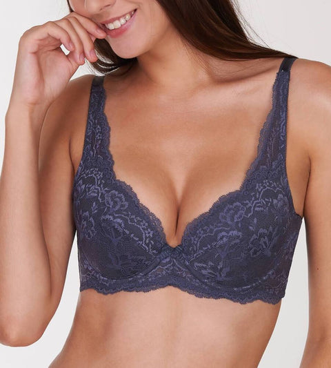 Natural Elegance Wired Padded Bra - PEBBLE GREY