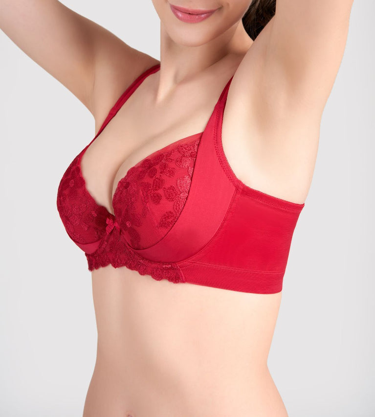 Sculpt Bouquet Wired Push Up Bra - MARS RED