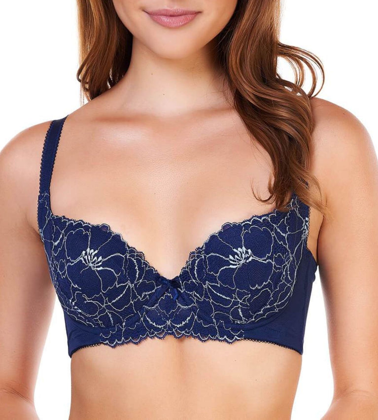 Sculpt Foliage Wired Support Bra - DEEP WATER