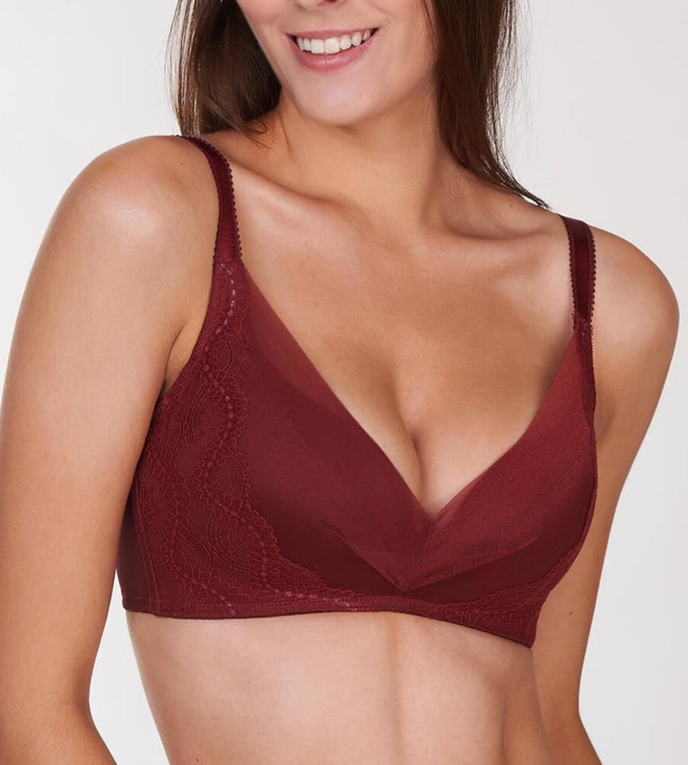 Sculpt Secret  Non Wired Support Bra - GARNET BROWN