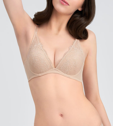 Simply Style Larkspur DEEP V WIRED PUSH UP BRA - NUDE BEIGE