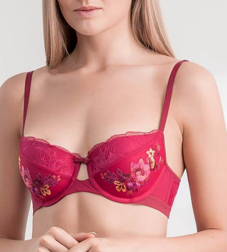 Style Fantasy Wired Push Up Bra - RED - DARK COMBINATION