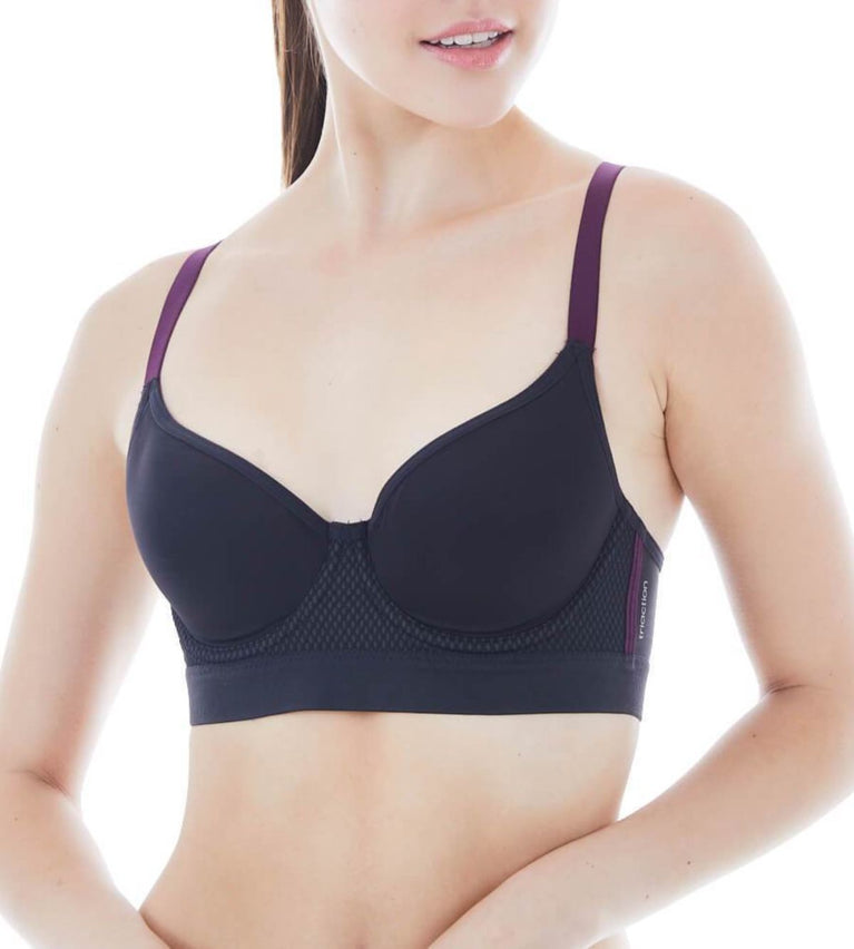 Triaction Free Motion Wired Padded Sports Bra - BLACK