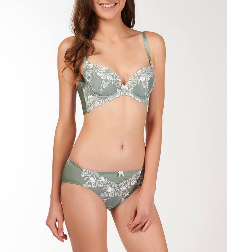 Uplift Butterfly Wired Push Up Support Bra - GREEN - LIGHT COMBINATION