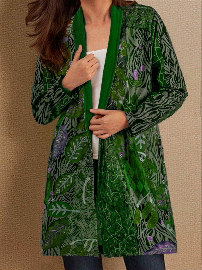 Irisruby Autumn Casual Vintage Basic Printed Long Coat
