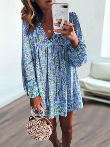 Summer Bohemian Floral long-sleeved Mini Dress