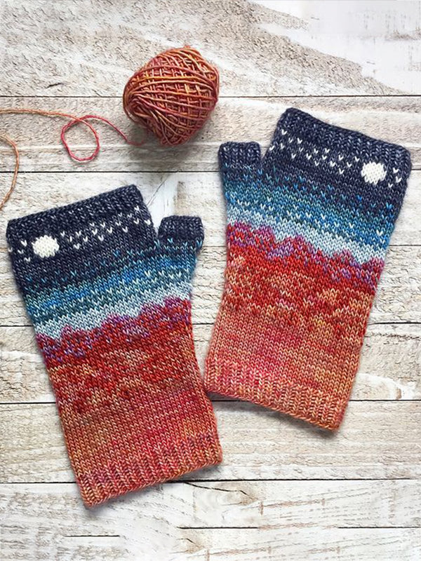 Red Cotton-Blend Striped Casual Gloves & Mittens