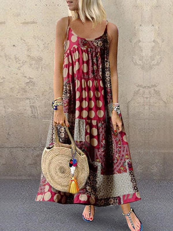Irisruby Women Tribal Dresses Shift Daytime Casual Printed Maxi Dresses