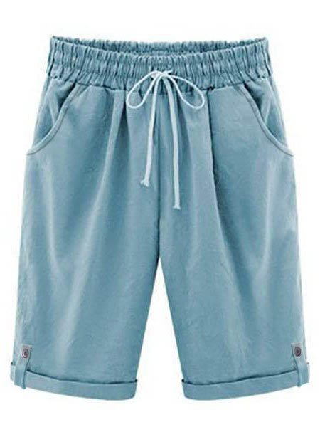 Women Summer Solid Casual Shorts Trousers Holiday Pants With Belt