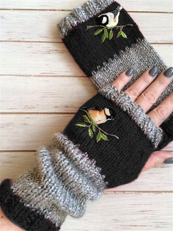 Women Winter Knit Fingerless Flowers Gloves Hand Crochet Thumbhole