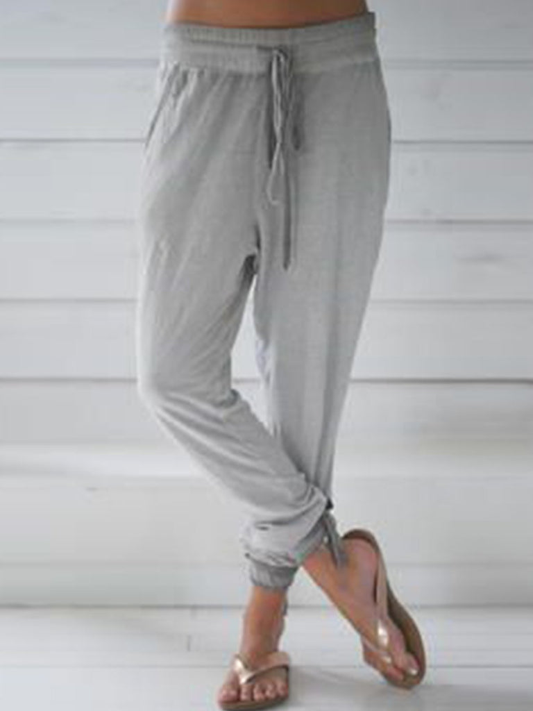 Light Gray Pockets Cotton-Blend Pants