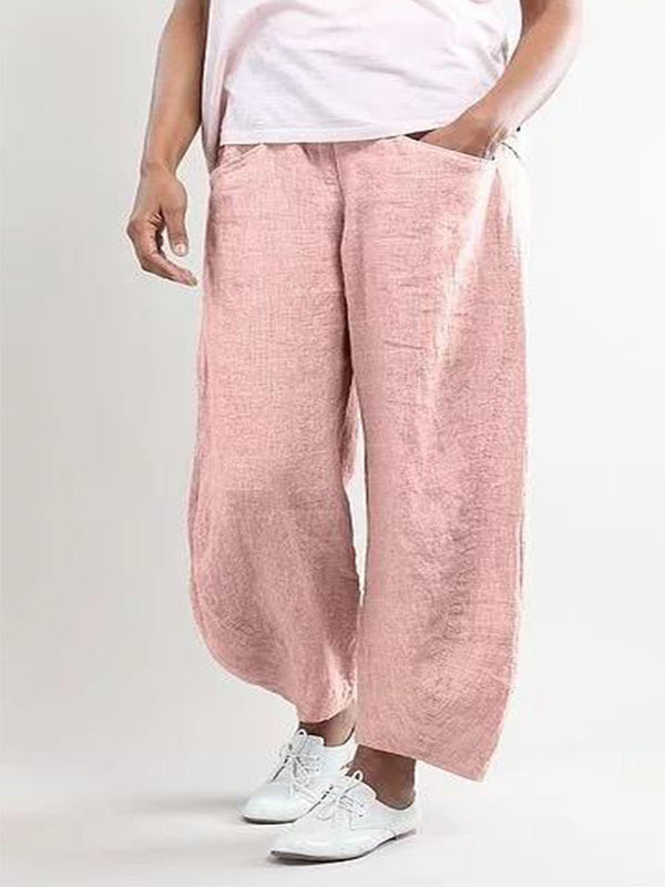 Irisruby Ladies Summer Loose Fit  Cotton and Linen Mix Trousers