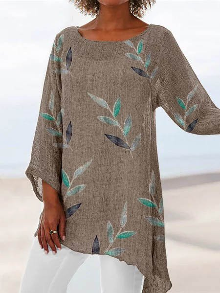 Leaf Crew Neck Beach Printed Cotton Long Sleeve Shirts & Tops