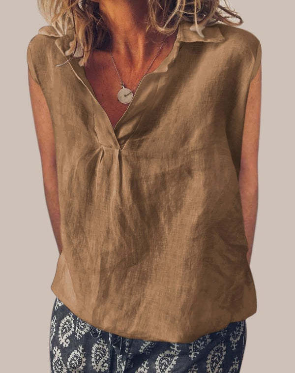 Sweet Cotton V Neck Sleeveless Shirts & Tops