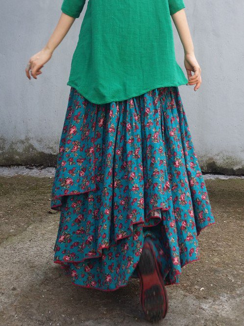 Green Casual Cotton Skirts