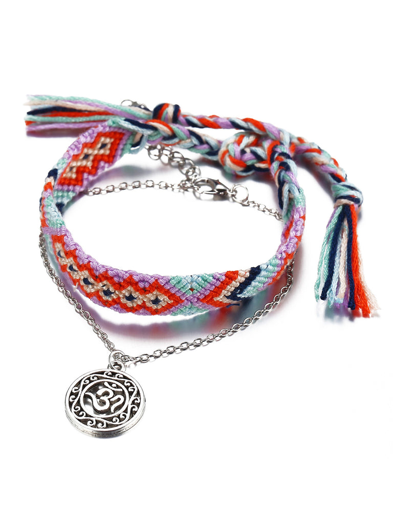 Irisruby 2 Pieces Braided Anklets Bohemian Openwork Yoga Chains