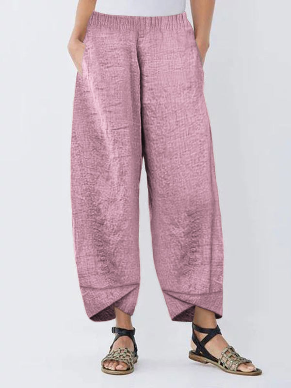 Women Linen Cotton Trousers/Pants Casual Holiday with Pockets