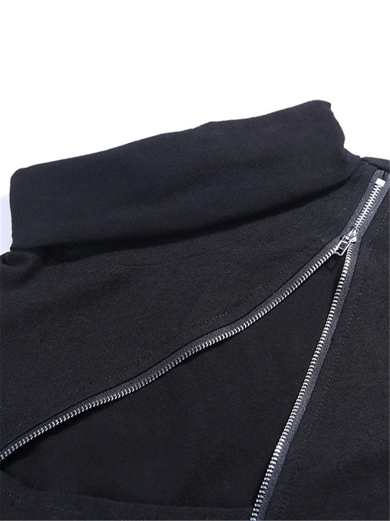 Long-sleeved mask stand collar zipper hole tops