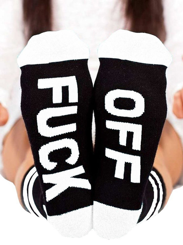 Ladies Cotton Funny Letter Socks