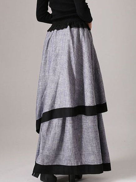 Gray Casual Asymmetric Skirts