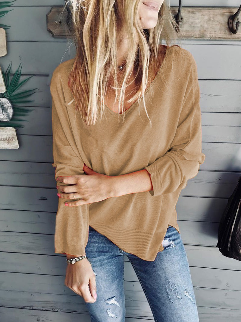 Plus Size V Neck Casual Solid  Long Sleeve Tops
