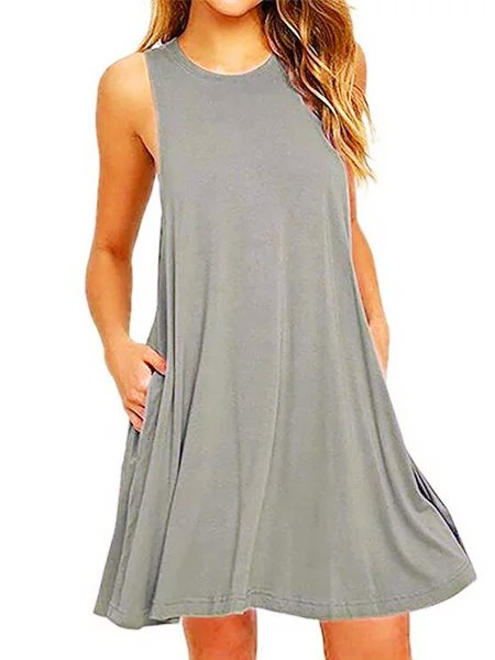 Irisruby A-line Women Daily Sleeveless Cotton-blend Solid Summer Dress