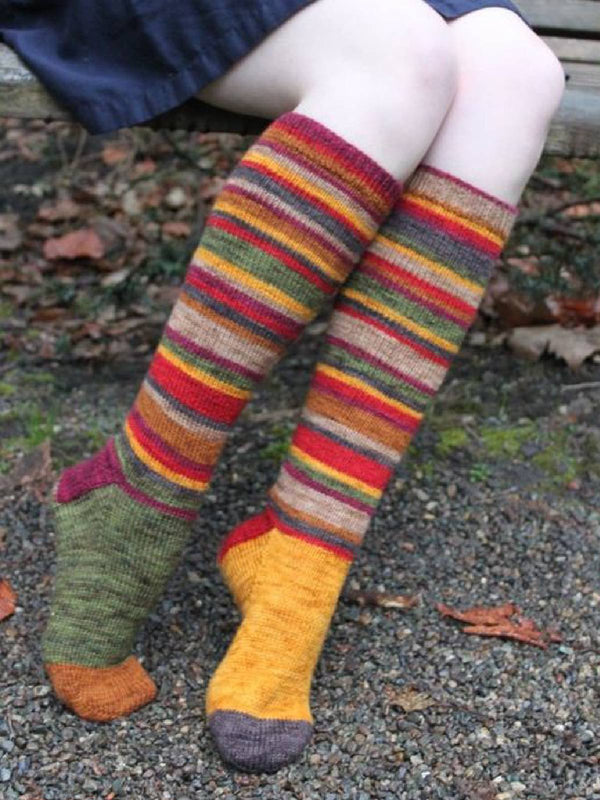 Women's Rainbow Socks Stripe Knitted Winter Casual Wool Socks