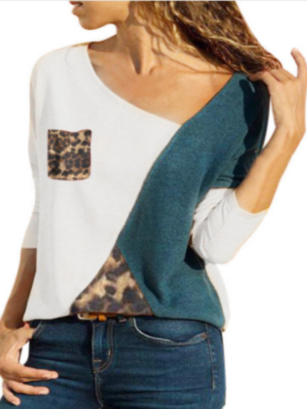 Long Sleeve Cotton Leopard Print Asymmetric T-Shirts