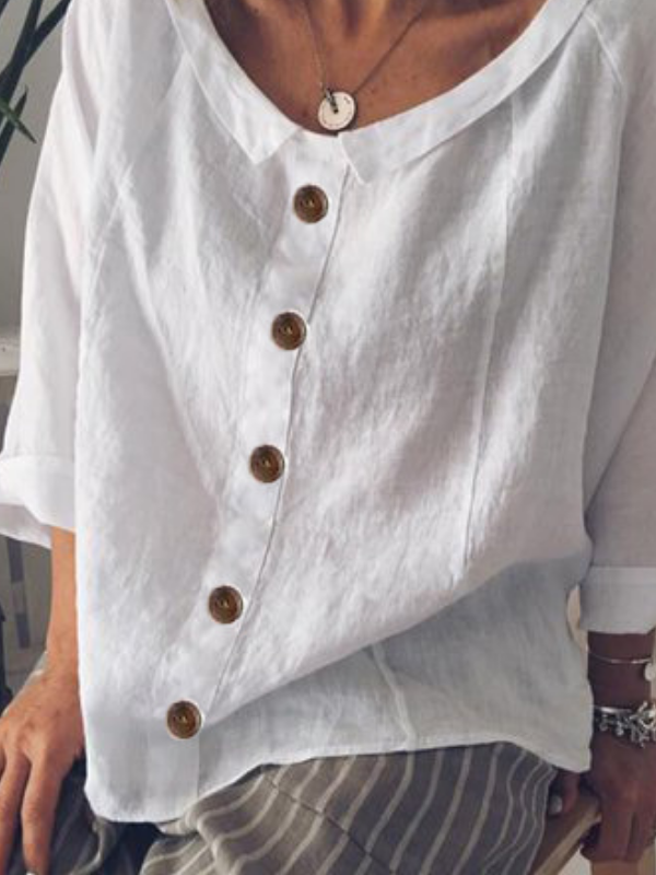 Peter Pan Collar Buttoned Casual Cotton-Blend Shirts & Tops