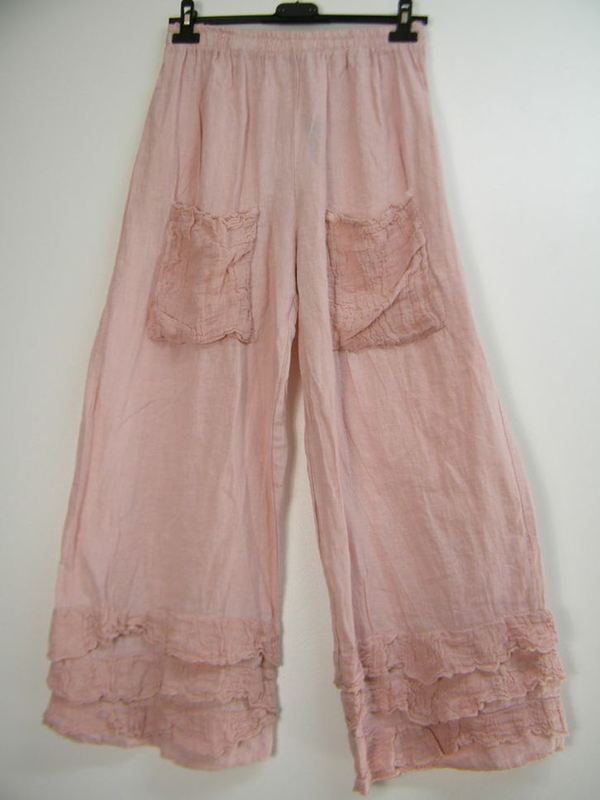 Women's Trousers Casual Lace Pockets Linen And Cotton Pants