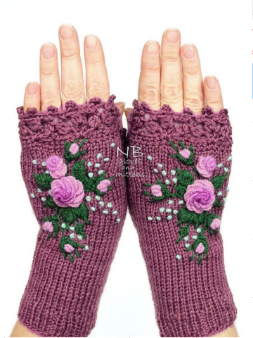 Brown Knitted Casual Gloves & Mittens