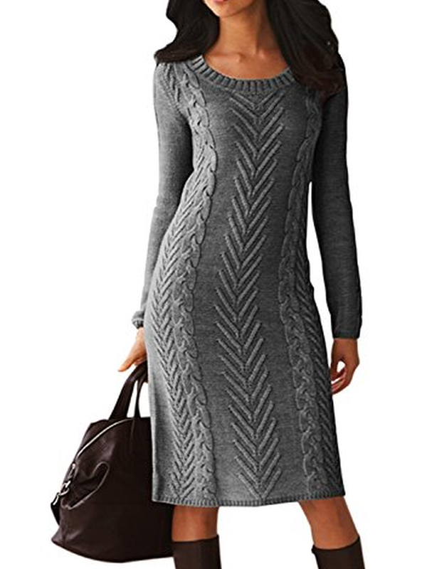 Irisruby Women Knited Jumper Dress Elegant Crew Neck Knitted Sweater Dress