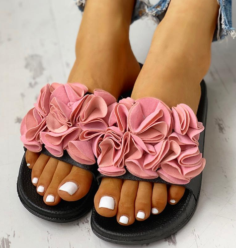 Women Flower Flat Heel Casual Slippers